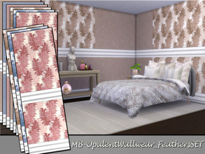 Sims 4 — MB-OpulentWallwear_FeathersSET by matomibotaki — MB-OpulentWallwear_FeathersSET. lovely wallpaper set with white