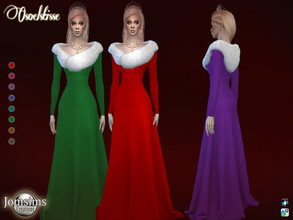 Sims 4 — osoelstisse dress by jomsims — osoelstisse dress for her 8 shades long dress edged with faux fur on the