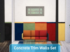 Sims 4 — Concrete Double Trim Wall Set - Parts 1 - 6 by f0xx — Concrete walls with a double trim in 6 different base