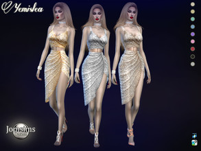 Sims 4 — Yemislea dress by jomsims — Yemislea dress for her in 9 shades. sequin top and skirt semi pleated chic and sexy.