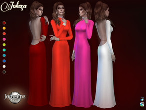 Sims 4 — Joluza dress  by jomsims — Joluza dress for her in 10 flashy shades Mireille Darc inspired dress. high collar