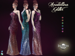 Sims 4 — Anabellina glitter dress by jomsims — Anabellina glitter dress for her in 6 shades Long evening dress with a