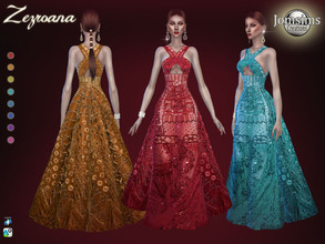 Sims 4 — Zezroana dress by jomsims — Zezroana dress for her in 8 shades. High fashion dress. long straight dress and