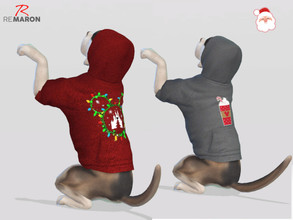 Sims 4 — Hoodie for small dogs Xmas - Cats & Dogss Needed by remaron — -10 Swatches available -Custom CAS thumbnail -