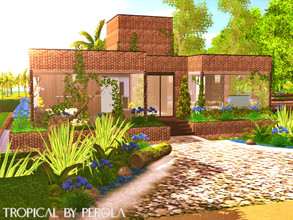 Sims 3 — Tropical by perolasims — Beautiful tropical house with two bedrooms, a bathroom and more: - a double bedroom; -