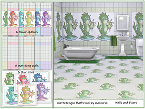 Sims 4 — Waterdragon Bathroom - Walls and Floors by marcorse by marcorse — A co-ordinated set of 2 walls and a floor. -