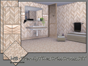 Sims 4 — MB-TrendyTile_CrissCross_SET by matomibotaki — MB-TrendyTile_CrissCross_SET, two elegant tile walls with full