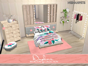 Sims 4 — Daphne Bedroom Collection {Mesh Required} by neinahpets — A retextured and recolored bedroom suite featuring