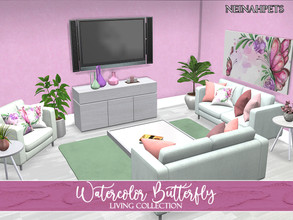 Sims 4 — Watercolor Butterfly Living Collection {Mesh Required} by neinahpets — A beautiful spring living room suite in