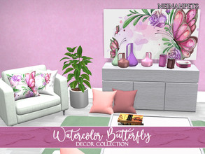 Sims 4 — Watercolor Butterfly Decor Collection {Mesh Required} by neinahpets — A decorative collection in 12 spring