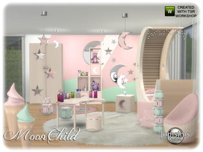 Sims 4 — Moonchild kids bedroom by jomsims — Moonchild kids bedroom sims 4 in 4 wood shades and color. bed. end table.