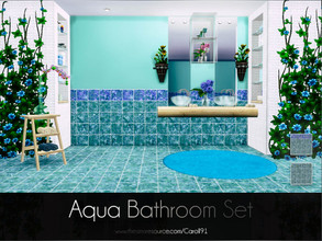 Sims 4 — Aqua Bathroom Set by Caroll912 — The set of single recolour wall and floor design. They can be used universally