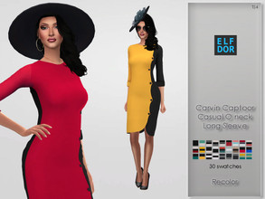 Sims 4 — Carvin Captoor Casual Oneck Long Sleeve RC by Elfdor — Its a standalone recolor of Carvin Captoor dress and you