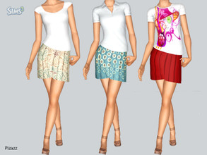 Sims 3 — Pleated Skirt Set by pizazz — A playful fun skirt that can be worn with a T-shirt or dress it up for an evening