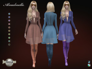 Sims 4 — Almulmella dress by jomsims — Almulmella dress Sims 4 for her in 10 shades fabric and veil back zip. V-shaped