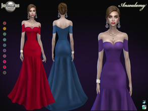 Sims 4 — Ansoulamy dress by jomsims — Ansoulamy dress Sims 4 for her in 10 shades long mermaid evening dress. Naked