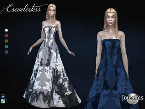 Sims 4 — Esevelestess dress by jomsims — Esevelestess dress Sims 4 for her in 5 shades long ball gown, embroidery and