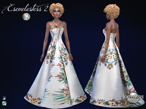 Sims 4 — Esevelestess dress 2 by jomsims — Esevelestess dress 2 Sims 4 for her. Tropical Fabric. long prom dress, exotic