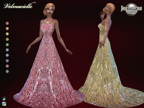 Sims 4 — Velmacielle dress by jomsims — Velmacielle dress Sims 4 for her in 10 shades long backless dress. very long on
