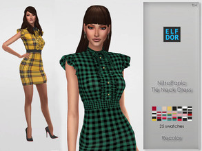 Sims 4 — NitroPanic Tie Neck Dress RC by Elfdor — Its a standalone recolor of NitroPanic dress and you will need the