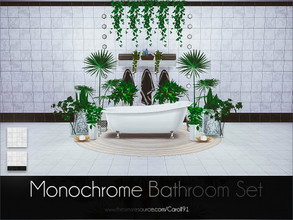 Sims 4 — Monochrome Bathroom Set by Caroll912 — The monochrome set of single recolour wall and floor design. They can be