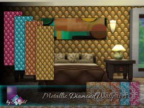 Sims 4 —  Metallic Diamond Wallpaper by Emerald —  Metallic Wallpaper will bring a touch of fascinating charm to the look