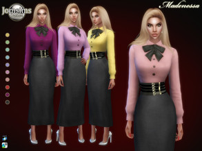 Sims 4 — Madenessa dress by jomsims — Madenessa dress Sims 4 for her in 10 shades. skirt with blouse and belt. With bow