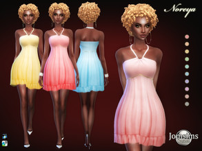 Sims 4 — Noreya short dress by jomsims — Noreya short dress Sims 4 for her in 10 shades short veil dress effect with