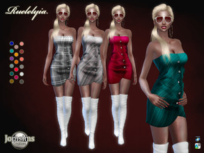Sims 4 — Ruelelyia dress by jomsims — Ruelelyia dress dress Sims 4 for her in 17 shades. short dress with buttons.