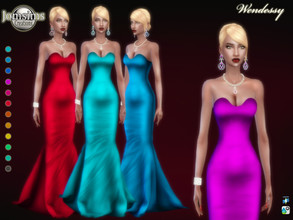 Sims 4 — Wendessy dress by jomsims — Wendessy dress Sims 4 for her in 12 shades long evening dress, light pleated. satin