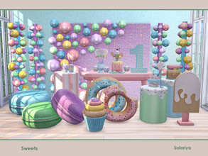 Sims 4 — Sweets by soloriya — A set of furniture for your parties. Includes 13 objects, has 5 color variations. Items in