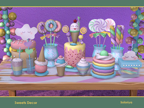 Sims 4 — Sweets Decor by soloriya — A set of decorative food for your parties. Includes 12 objects, has 5 color