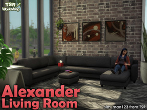 Sims 4 — Alexander Living - Seating by sim_man123 — A large sectional couch as part of my Alexander Living Room. Contains