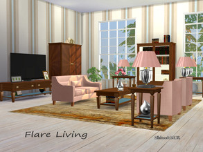 Sims 4 — Living Flare by ShinoKCR — Inspired by Flare Series of Clive Christian Surfaces have a Leather Inlay in 5 Colors