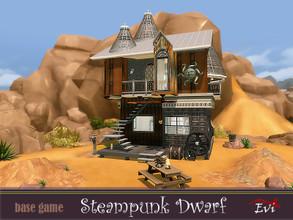 Sims 4 — Steampunk dwarf by evi — A tiny steampunk house with a bedroom on the second floor as well as some area for a