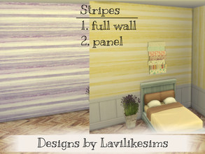 Sims 4 — Kaykay Stripes (stripes Extra) by lavilikesims — Set includes full wall with stripes in 3 colours and half paper
