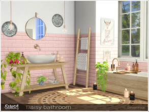 Sims 4 — Daisy bathroom by Severinka_ — A set of furniture and decor for the design of the bathroom in the Boho style The