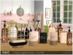 Sims 4 — Daisy bathroom clutter by Severinka_ — A set of decor for the design of the bathroom. The set includes 9