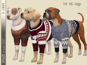 Sims 4 — Wool sweater for dogs by Birba32 — Six new sweaters for big size dogs in warm wool. You need Cats and Dogs EP