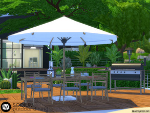 Sims 4 — Sodium Outdoor Dining by wondymoon — Sodium Modern Outdoor Dining part of big outdoor project; Living, Dining,
