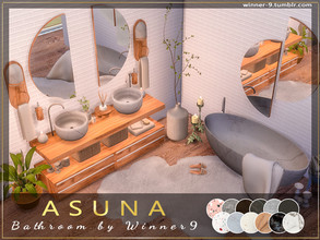 Sims 4 — ASUNA Bathroom by Winner9 — Modern bathroom in soft warm colours with marble and wooden notes. This set
