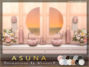 Sims 4 — ASUNA Decorations by Winner9 — Decorations for Asuna - modern bathroom in soft warm colours with marble and