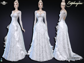 Sims 4 — Estpheyine wedding by jomsims — Estpheyine wedding for her long dress entirely in Calais lace. the train is also