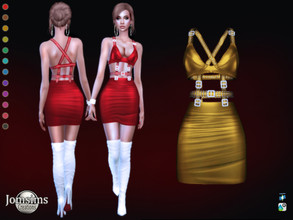 Sims 4 — Sufzune dress by jomsims — Sufzune dress for her in 12 shades. short dress leather effect dress. thongs. Metal