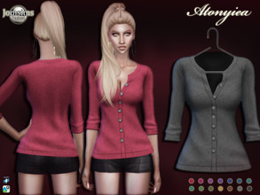 Sims 4 — Atonyiea top by jomsims — Atonyiea top for her in 14 shades. simple little wool cardigan with pleated sleeve