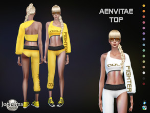 Sims 4 — Aenvitae Top by jomsims — Aenvitae Top for her in 15 shades sports top with a sleeve. doll fighter logo think of
