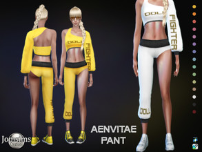 Sims 4 — Aenvitae pant by jomsims — Aenvitae pant for her in 15 shades sports pants with one leg. matching the top Happy