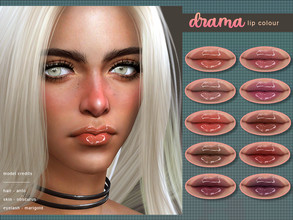 Sims 4 — [ Drama ] - Lip Colour by Screaming_Mustard — A shiny but subtle lip colour with high gloss. With custom thumb