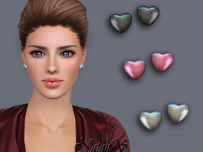 Sims 3 — NataliS TS3 Pearl heart stud earrings by Natalis — Pearl heart stud earrings. FT-FA-FE