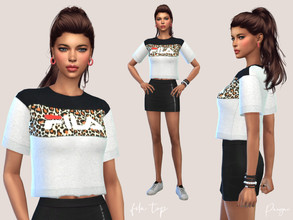 Sims 4 — Fila Top by Paogae — Funny t-shirt with leopard print on the front, inspired by Fila's Leah Crew collection, one